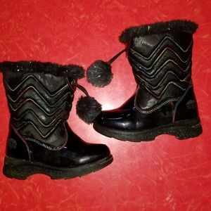 Black patent leather snow boots